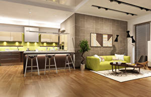 Фото Интерьер Дизайн Гостиная Диван Кухня 3D Графика