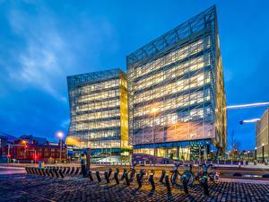 Обои Ирландия Здания Вечер Улица Велосипед Dublin