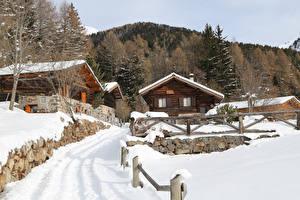 Фото Италия Здания Зимние Снег Ограда Alta Badia