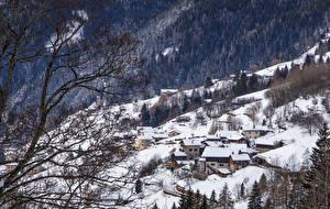 Фото Италия Дома Зимние Леса Альпы Снег Ветвь Alta Badia