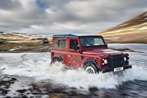 Картинка Range Rover Вода Красный Едущий Defender Works V8 2018 Авто