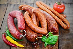 Картинки Мясные продукты Колбаса Перец овощной Еда