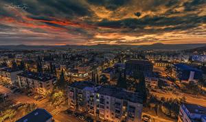 Фотография Черногория Здания Вечер Небо Улица Облака Podgorica