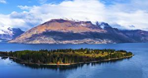 Картинка Новая Зеландия Гора Остров Озеро Lake Wakatipu Queenstown Природа