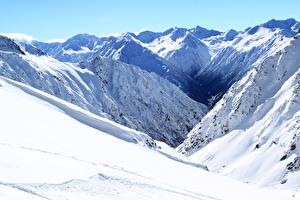 Фото Новая Зеландия Горы Зимние Снег Methven Heli-Skiing Природа