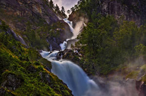 Картинки Норвегия Водопады Утес Деревья Природа