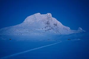 Картинка Норвегия Зимние Вечер Снег Утес Sulitjelma Природа