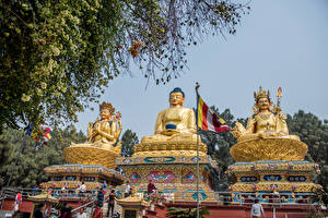 Обои Парки Скульптуры Втроем Дизайн Будда Buddha Park Swayambhunath Nepal Города