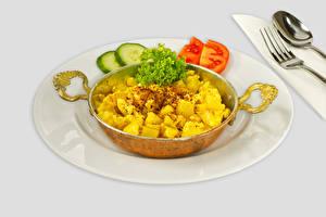 Фотографии Картофель Овощи Тарелка Еда
