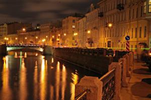 Фото Россия Санкт-Петербург Здания Мост Водный канал Ночью Уличные фонари Города