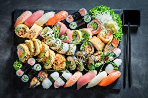 Картинка Морепродукты Суси Много Рыба Пища