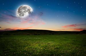 Фотографии Небо Вечер Луга Луна Трава Природа