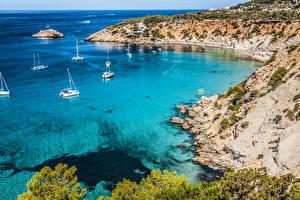 Фотографии Испания Берег Корабли Парусные Утес Ibiza