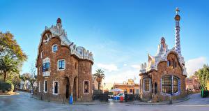 Фотографии Испания Парки Здания Храм Барселона Дизайна Улице Guell Park Города