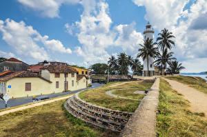 Картинка Шри-Ланка Тропический Маяки Здания Пальмы Galle fort Природа