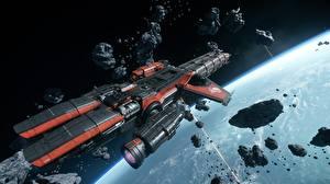 Обои Star Citizen Космолет Корабли Астероиды Caterpillar Космос 3D_Графика