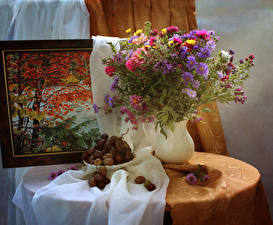 Обои для рабочего стола Натюрморт Букеты Астры Хризантемы Виноград Живопись Вазе цветок Еда