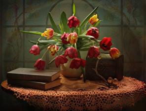 Картинка Натюрморт Букеты Тюльпаны Птицы Книга