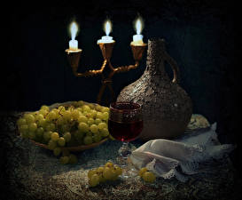 Картинки Натюрморт Свечи Вино Виноград Кувшины Бокал Еда