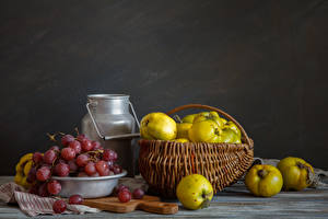 Картинка Натюрморт Фрукты Виноград Корзина Продукты питания