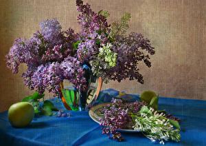 Фотографии Натюрморт Сирень Яблоки Цветы