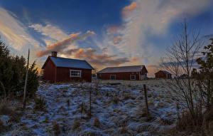 Обои Швеция Дома Зима Вечер Небо Снег