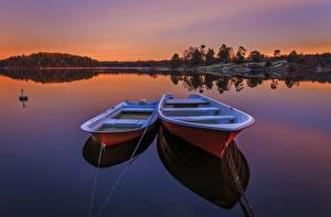 Фотографии Швеция Реки Лодки Рассветы и закаты Вдвоем Природа