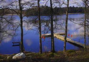 Обои Швеция Реки Причалы Лодки Деревья Rimforsa Природа