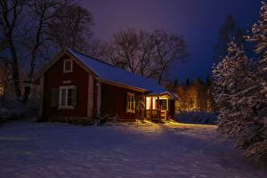 Фотографии Швеция Зимние Вечер Здания Снег Деревья Города