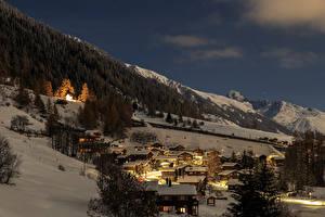 Фотография Швейцария Зимние Вечер Горы Здания Леса Снег Selkingen Goms Города