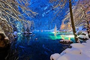 Фотографии Швейцария Зимние Озеро Вечер Снег Деревья Kander Valley Природа