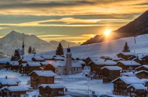 Фото Швейцария Зима Горы Рассветы и закаты Снег Gluringen Goms город