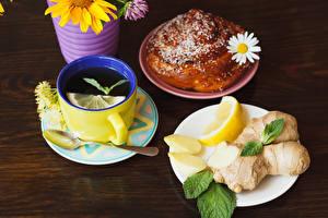 Обои Чай Лимоны Булочки Ромашки Доски Завтрак Чашка Ложка Тарелка