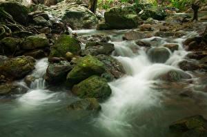 Фото Таиланд Парки Водопады Камни Мох Sarika Waterfall Khao Yai National Park Природа