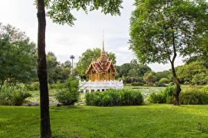 Картинки Таиланд Тропики Парки Пагоды Деревья Кусты Garden public park Природа