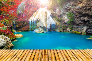 Фотографии Таиланд Тропики Водопады Парки Мосты Утес Природа