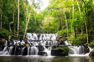 Фотографии Таиланд Тропики Водопады Деревья Sam lan waterfall Природа
