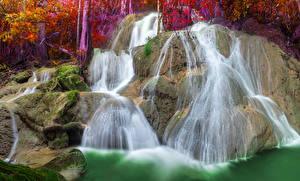 Фотография Таиланд Водопады Утес Мох Pha Tad Waterfall Природа