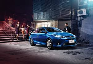 Обои Тойота Синий 2016-18 Toyota Yaris L Sedan Авто