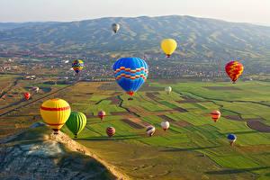Картинки Турция Парки Поля Много Аэростат Cappadocia Goreme national park Природа