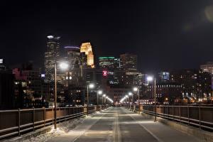 Обои США Дома Мосты Зима Уличные фонари Снег Ограда Minneapolis Minnesota Города