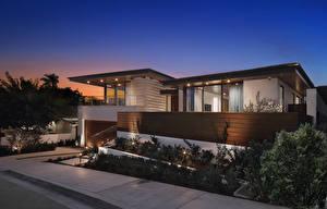 Картинки Штаты Здания Вечер Особняк Дизайн Malabar Newport Beach Города