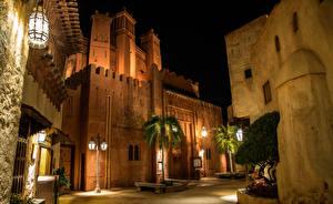 Картинка США Парки Дома Флорида Дизайна Уличные фонари Пальм Ночь Disney World Epcot Orlando город