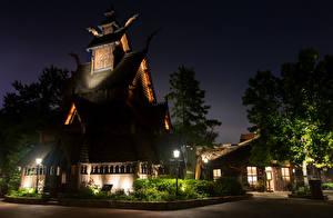Обои Штаты Парки Здания Флорида Ночные Дизайн Уличные фонари Disney World Epcot Orlando Города