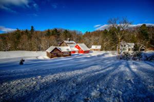 Обои США Зимние Здания Снег Leelanau Michigan Города