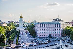 Картинка Украина Киев Здания Церковь Улица