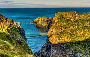 Обои Великобритания Море Мосты Утес Ballintoy Northern Ireland Природа