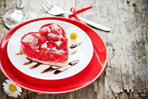 Фото День святого Валентина Пирожное Желе Тарелка Сердце Пища