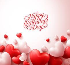Фотография День всех влюблённых Много Английский Цветной фон Сердечко
