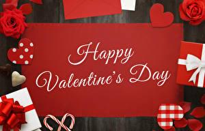 Обои День всех влюблённых Розы Английский Сердечко